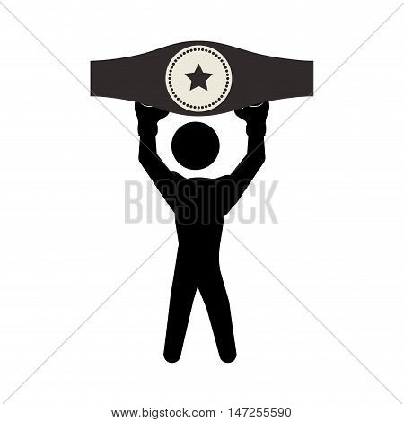 Boxer and belt icon. boxing sport competition and training theme. Isolated design. Vector illustration