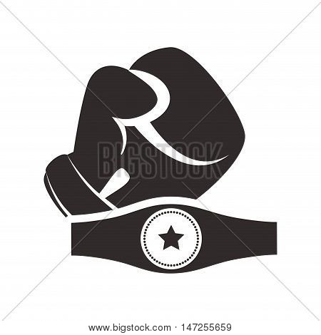 Belt and glove icon. boxing sport competition and training theme. Isolated design. Vector illustration