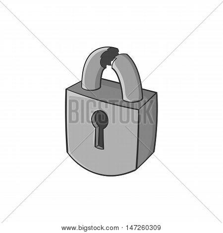 Broken lock icon in black monochrome style isolated on white background. Burglary symbol vector illustration