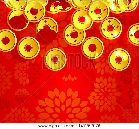 Chinese New Year 2017. Plum blossom and coin background