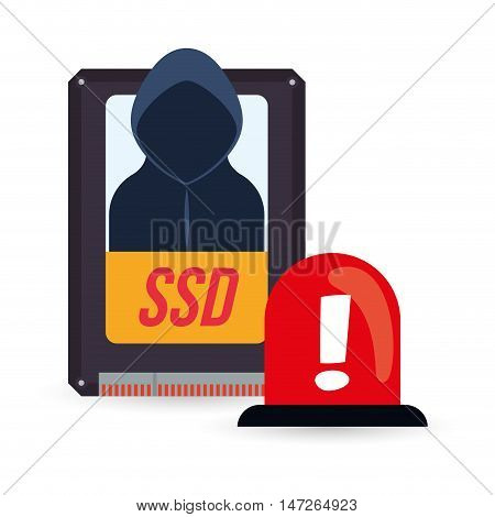 ssd hacker and alarm. Cyber security system and media theme. Colorful design. Vector illustration