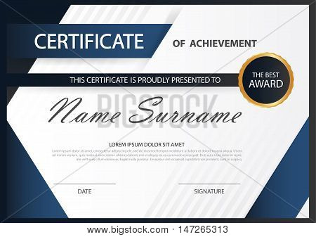 Blue Elegance horizontal certificate with Vector illustration white frame certificate template with clean and modern pattern presentation