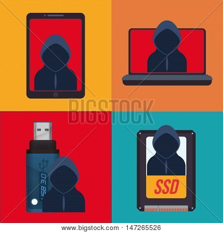 Hacker usb ssd laptop and smartphone icon. Cyber security system and media theme. Colorful design. Vector illustration