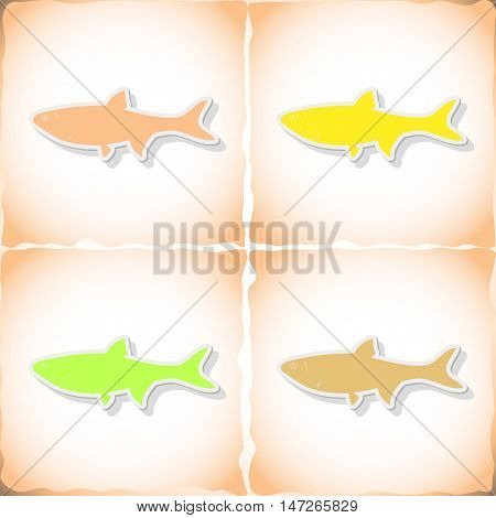 Fish dace. Flat sticker with shadow on old paper. Vector illustration