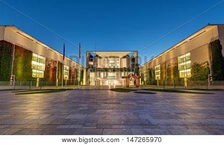 BERLIN, GERMANY, SEPTEMBER 8, 2016: The German Chancellery, the seat of the chancellor, in Berlin at night