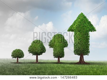 Concept of growing success as a group of trees developing from a small start to a successful finnish as a tree shaped as an arrow with 3D illustration elements as a business metaphor for investment maturity.