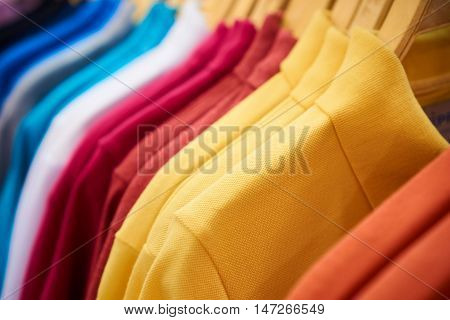 colorful polo t-shirt for sales in the shopping mall