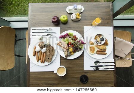 Breakfast for two persons from top angle