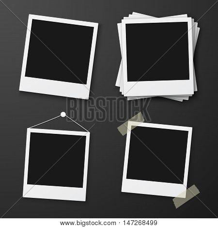 Illustration of Vector Instant Photo. Blank Vintage Photo Frame Mockup Set. Photorealistic Vector EPS10 Retro Instant Photo Frame Mockup Set