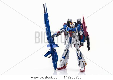 Bangkok Thailand - October 13 2016: Gundam model scale 1:100 produced by Bandai Japan. Gundam plastic model from anime tv series mobile suit gundam.
