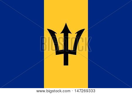 Flag of Barbados in correct size proportions and colors. Accurate official standard dimensions. Barbados national flag. Patriotic symbol banner element background. Vector illustration
