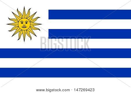 Flag of Uruguay in correct size proportions and colors. Accurate official standard dimensions. Uruguayan national flag. Patriotic symbol banner element background. Vector illustration