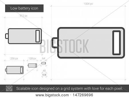 Low battery vector line icon isolated on white background. Low battery line icon for infographic, website or app. Scalable icon designed on a grid system.