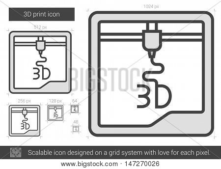 Three D print vector line icon isolated on white background. Three D print line icon for infographic, website or app. Scalable icon designed on a grid system.