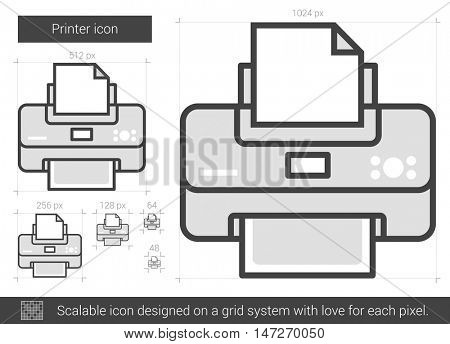 Printer vector line icon isolated on white background. Printer line icon for infographic, website or app. Scalable icon designed on a grid system.
