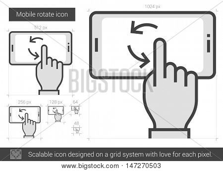 Mobile rotate vector line icon isolated on white background. Mobile rotate line icon for infographic, website or app. Scalable icon designed on a grid system.