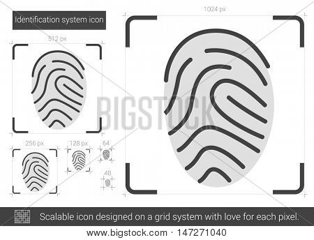 Identification system vector line icon isolated on white background. Identification system line icon for infographic, website or app. Scalable icon designed on a grid system.