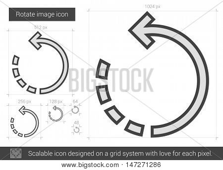 Rotate image vector line icon isolated on white background. Rotate image line icon for infographic, website or app. Scalable icon designed on a grid system.