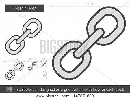 Hyperlink vector line icon isolated on white background. Hyperlink line icon for infographic, website or app. Scalable icon designed on a grid system.
