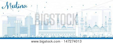 Outline Medina Skyline with Blue Buildings. Business Travel and Tourism Concept with Historic Buildings. Image for Presentation Banner Placard and Web Site.