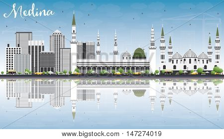 Medina Skyline with Gray Buildings, Blue Sky and Reflections. Business Travel and Tourism Concept with Historic Buildings. Image for Presentation Banner Placard and Web Site.