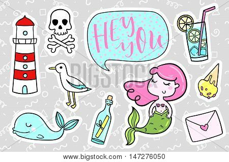 poster of Fashion quirky cartoon doodle patch badges with cute elements. Vector illustration isolated on background. Set of stickers, pins, patches in cartoon comic style of 80s-90s. Vector collection