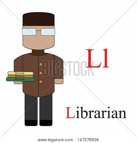 Letter L alphabet of professions. Librarian. ABC education cards for kids.