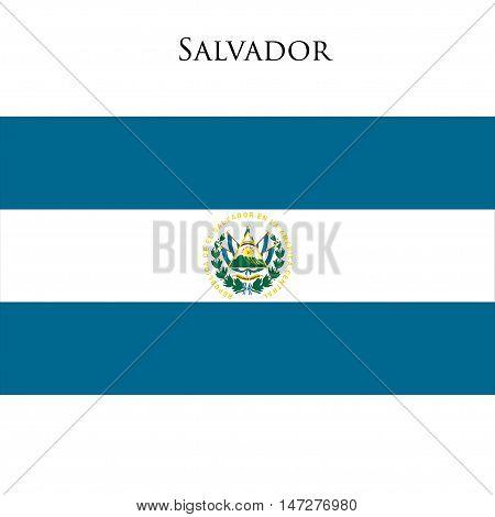 Flag of El Salvador against white background. Vector illustration