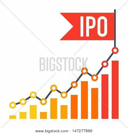 IPO concept with line chart and flag in flat style.