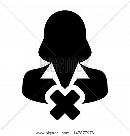 Delete User Icon - Woman, Account, Avatar, Profile Glyph Vector illustration