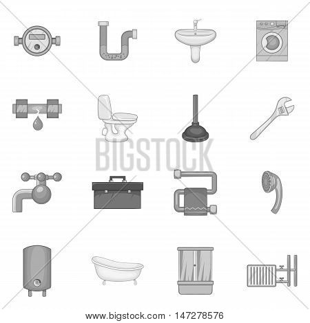 Bathroom icons set in black monochrome style. Plumbing service set collection vector illustration