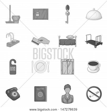 Hotel icons set in black monochrome style. Hotel accommodation services set collection vector illustration