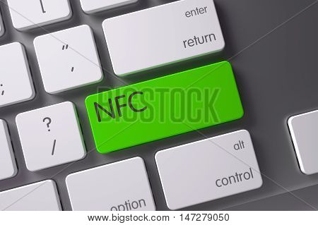 NFC Concept Aluminum Keyboard with NFC on Green Enter Key Background, Selected Focus. 3D Illustration.