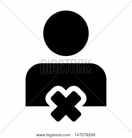 Delete User Icon - Man, Human, Profile, Businessman, Avatar, Person Glyph Vector illustration