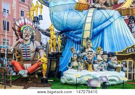 VALENCIA, SPAIN - MARCH 19, 2015: Colorful paper mache figures in the Las Fallas Festival in Valencia Spain