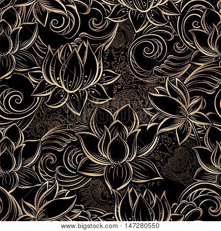 luxurious gold seamless pattern of lotus flowers and stylized waves on a black background