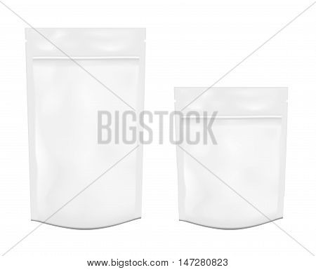 White empty plastic packaging with zipper. Blank foil or plastic sachet for food or drink.