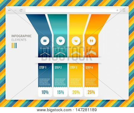 Abstract Design Of Browser With Infographic