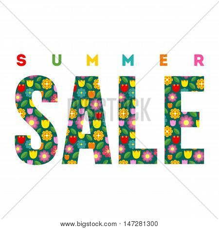 Summer Sale. Vector summer concept isolated on the white background. Colorful summer illustration.