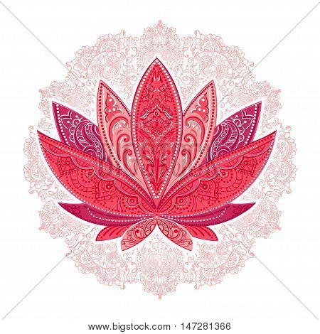 unusually Vector image of a lotus ornate paisley mandala and mehendi. Great for greeting cards yoga Store spices ethnic shop and printing.