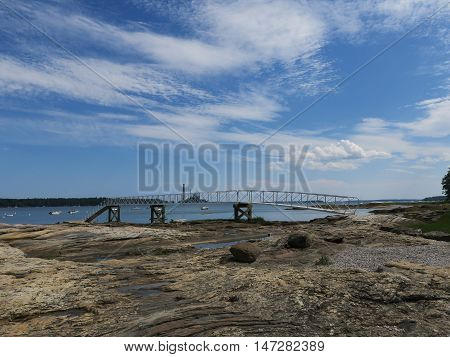 Cousin's Island in Yarmouth, Maine showing a beautiful blue sky over Casco Bay