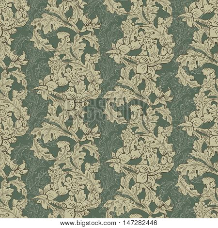 Vintage wallpaper seamless pattern composed of leaves and flowers. Victorian Baroque and Rococo style