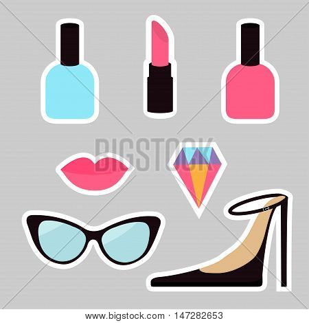 Quirky cartoon sticker patch badge set. Woman Fashion pin. Lipstick diamond gem shoes lips sunglasses eye glasses nail polish. White line contour. Isolated Gray background. Flat design Vector