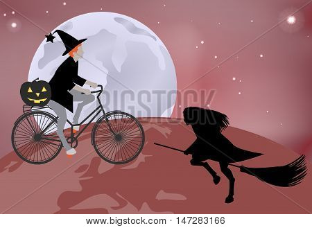 Vector Illustration Of A Witch Goes Over The Globe On A Bicycle, And A Witch Flying Over The Globe O