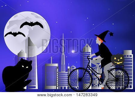 Vector Illustration Of A Witch On A Bicycle Carries A Pumpkin For A Large Black Cat On A Moonlit Nig