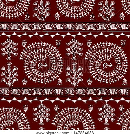 Warli peynting seamless pattern - hand drawn traditional the ancient tribal art India. Pictorial language is matched by a rudimentary technique depicting rural life of the inhabitants of India