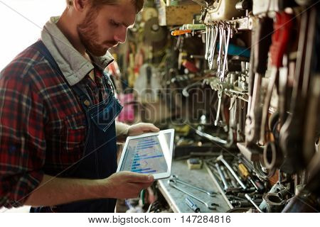 Repairman with touchpad