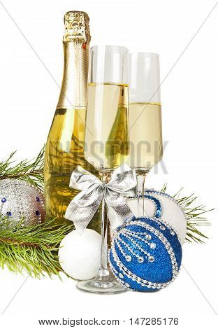Champagne with two glasses and new year composition 2017 isolated