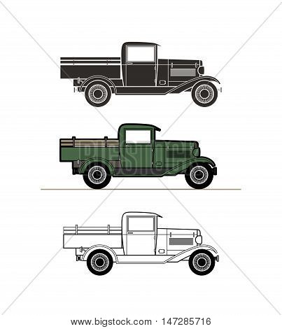 Retro pickup truck car vintage collection, classic garage sign, vector illustration background, can be used for design card infographics