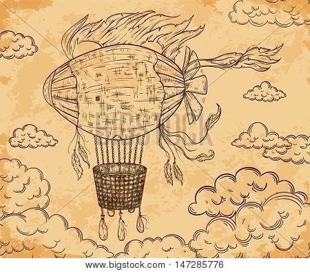Vintage airship with ribbon and clouds on aged paper background. Cartoon steampunk styled flying airship. Retro vector hand drawn illustration.